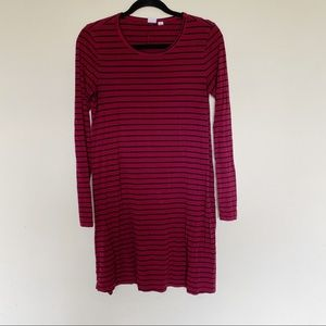 Stripe Stretchy Long Sleeve Fit Flare Casual Dress